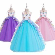 Vestido de boda niñas Princesa Unicornio Vestido Ropa de Fiesta Disfraz adolescente 5-16T