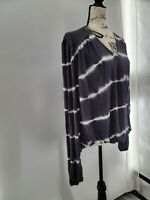 Knox Rose Womens Black Tie Dye Striped Long Sleeve Pullover Blouse Top Size XXL
