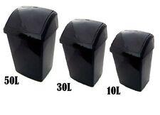 10L 30L 50L LITRE PLASTIC BLACK SWING BIN WASTE DUST BIN OFFICE KITCHEN NEW