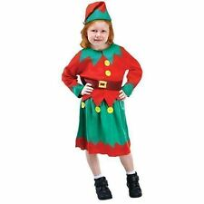 GIRLS SANTA'S HELPER ELF PIXIE CHRISTMAS FANCY DRESS COSTUME