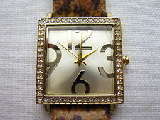Avon Cosmetics Ladies Quartz Gold Diamond Square Watch With Original Strap *S/R*