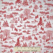 """Christmas Fabric - Winter Essentials IV Red White Winter Toile - Studio E 27"""""""