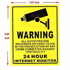 Security Sign Waterproof 24 Hour Monitor Alert Sticker Eye-catching Warning