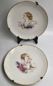 Superbe paire assiettes porcelaine Limoges HAVILAND Portraits élégantes 1900 XIX