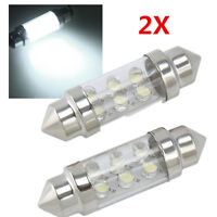 2x 36mm 6 LED Pure White Car Festoon Interior Dome C5W Light Lamp Bulb DC 12V W8