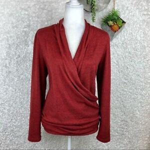 Pleione Wrap Knit  Long Sleeve Sweater Blouse Size L