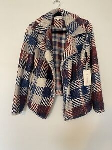 Two By Vince Camuto S Jacket Plaid Red white Blue Gray Textured Lightweight New