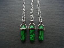 Hexagonal Natural Green Malachite Chakra Healing Stone Pendant Necklace 20pcs
