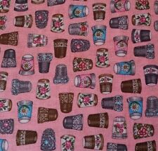 "1 yd 11"" Thimble Pleasures Dan Morris Quilting Treasures Thimbles Pink"