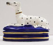 Vintage Fitz & Floyd Dalmatian Cobalt Blue Trinket 1979 Porcelain Box