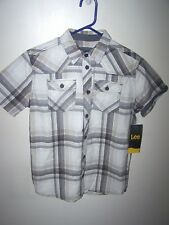 LEE Button Up Short Sleeve  Boys Shirt Size Large 14/16 Brown Tan Plaid NWT $40