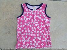 GYMBOREE rose & blanc imprimé fleuri T-shirt sans manches 6 ans très bon état