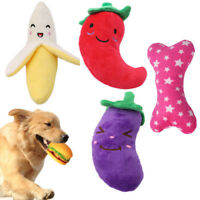 Cute Dog Cat Puppy Pet Chew Play Squeaky Sound Vegetable Fruit Food Plush Toys