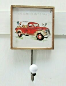 Farmhouse Red Pickup Wall Hook Plaque Farm Man Cave Country Truck Dad Gift
