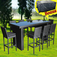 Outdoor Furniture Bar Table Chairs Patio Dining Pool High Rattan Wicker Set 9pcs