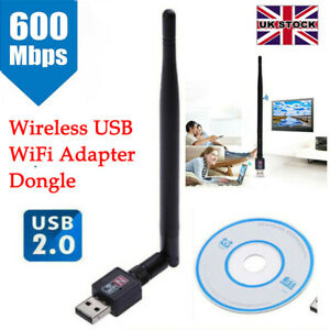 600Mbps USB WiFi Dongle 2.4GHz Adapter Antenna Wireless Network For Laptop PC UK