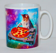 DJ Space Cat Pizza Mug Can Personalise Funny Animal Lover Decks Galaxy Cup Gift