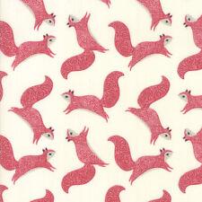 Moda Fabric Bramble Novelty Squirrels Red - Per 1/4 Metre