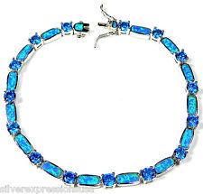 Blue Topaz & Blue Fire Opal Inlay 925 Sterling Silver Link Tennis Bracelet 7.5''