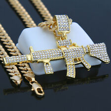 "Pendant 24"" Cuban Chain Hip-Hop Necklace Men 14k Gold Plated Ar-15 Gun"