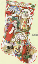 """Nancy Rossi """"Santa Collage"""" Stocking Counted Cross Stitch Pattern"""