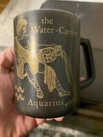 Vtg 70's Federal Glass Aquarius Zodiac Horoscope Black & Gold Coffee Cup Mug
