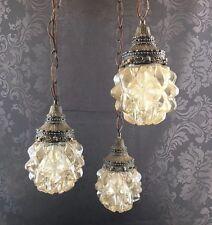3 Light Brass & Glass Chandelier Ceiling Lamp Hollywood Regency MCM Vintage