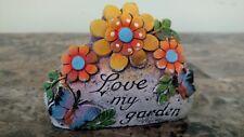 "New listing Decorative Garden Stone ""Love my garden"" with Flowers"
