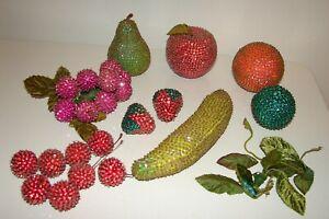 Lot (16) Vintage Handmade Bead Sequin Fruit Pushpin Craft Jeweled Faux Fruit