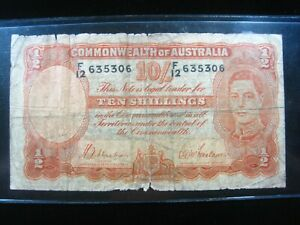 Australia 10 Shillings 1939 - 1952 P25a Sharp 5306# Bank Currency Money Banknote
