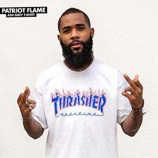 Thrasher Magazine Patriot Flames Logo Skateboard Shirt Ash Xl