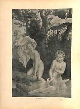 Léda et le cygne de Le Corrège Antonio Allegri da Correggio peintre GRAVURE 1886