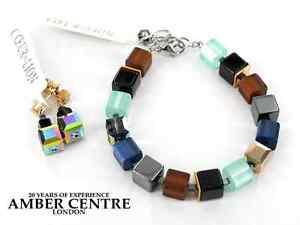 German Coeur de Lion bracelet Handmade Glass Hematite Cubes-4689/0711 RRP£150!!!