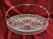 Vintage Cut Glass DIVIDED Relish-Serving Dish with Silverplate Handled Caddy
