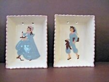 Vintage LOT 2 shadow box wall hanging dish Hand Painted Marked