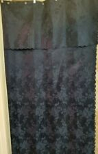 Deep Blue Shower Curtain Jacquard Rose Floral Print Standard Size FREE SHIPPING