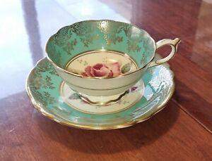 Paragon Fine Bone China Mint Green & Pink Roses Tea Cup & Saucer