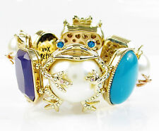 Betsey Johnson PEARL CRITTERS Owl Cat Frog Stretch Gold Tone Bracelet NWOT
