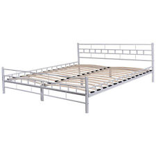 White Queen Size Wood Slats Bed Frame Platform Headboard Footboard Furniture NEW