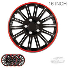 NEW 16 INCH BLACK W RED TRIM WHEEL RIM HUBCAPS COVERS LUG SKIN FOR HYUNDAI 527