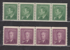 """1949 #295 1¢ & #296 3¢ KING GEORGE VI """"POSTE-POSTAGE"""" OMITTED COIL STRIP 4 NH"""