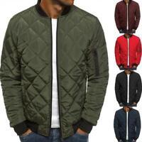 Men Winter Down Jacket Lightweight Packable Stand Collar Coat Puffer Bomber E4Z7