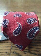 NWT Daniel Cremieu 7 Fold 100% Silk Red Paisley Christmas Tie Limited Edition
