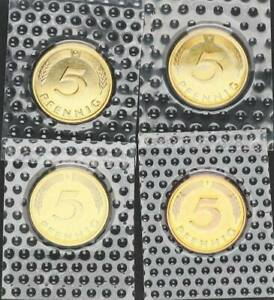 5 Pfennig 1974 D,F,G,J 4 Münzen komplett prfr.-st 56657