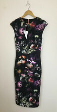 Ted Baker UK 10 NWT Raisie Shadow Floral Mid Grey Bodycon Midi Dress Zip £159