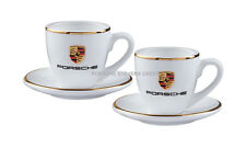 Porsche Espresso Cups Set of 2 Porsche Colored Crest White Cups & Saucers