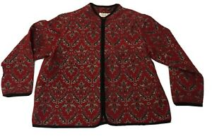 Vintage Silk Damask Tapestry Jacket Size 1X Red Black Paisley India StudioWorks