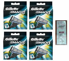 Gillette Mach3 Mach 3 Refill Razor Blades Pack of 32 + Free LovingCare Packet