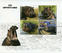 Wild Animals on Stamps 2019 MNH Hippos Hippopotamus Fauna 4v M/S