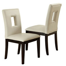 Set of 2 Upholstered High Back Dining Side Chairs Stools Cream Faux Leather